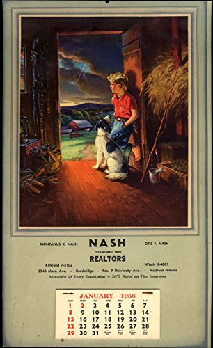 Montanus K & Otis F Nash Realtors Cambridge MA advertising calendar 1956 (Best Advertising For Realtors)