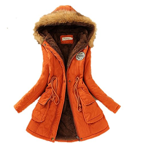 Lucao Fashion Winter Warm Coat Long-Sleeved Lamb Wool Jacket Orange-S (Rack Brass Antique Coat)