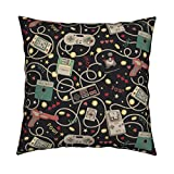 Roostery Technology Velvet Throw Pillow Gadgets Geek Retro Outdated Technology Gaming Nerdy by Teja Jamilla Cover and Insert Included
