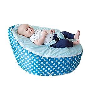 BayB Brand Baby Bean Bag - Filled - (Blue Polka Dot)