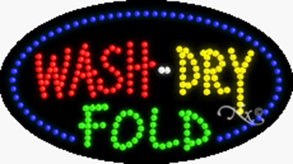 15x27x1 inches Wash Dry Fold Animated Flashing LED Window Sign by Light Master