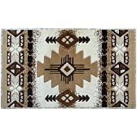 Champion Rugs Southwestern Native American Area Rug Geometric Ivory Design #CR117 (24 Inch X 40 Inch Mat)