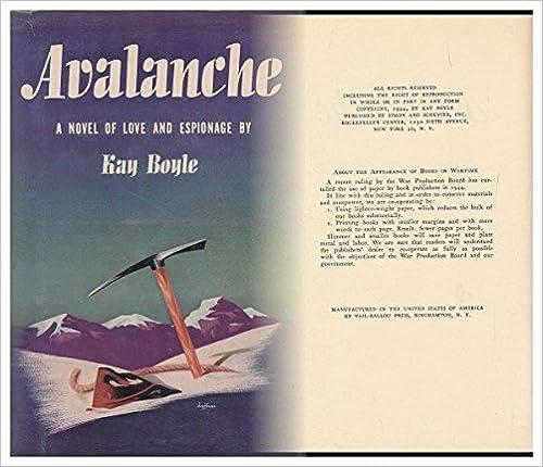 Livres électroniques pdf gratuits à télécharger Avalanche, a Novel of Love and Espionage by Kay Boyle PDF B000HM99H6