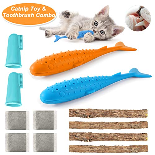 Ebeet [Cat Dental Care] Cat Toothbrush Catnip Toys Matatabi Sticks Combo, Food Grade Silicone, Natural Matatabi Silvervine, Fish Style Catnip Chew Toy, Cat Self Cleaning Toothbrush Toy Kit 2
