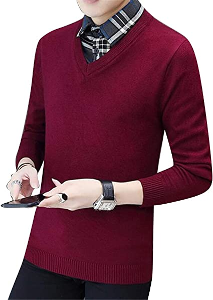 Winwinus Men Ribbed Long Sleeve Casual Mock Neck Solid Pullover Sweater
