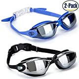 GAOGE Swim Goggles , Swimming Goggles,Pack of 2, Swim Goggles for Adult Men Women Youth Kids Child, Anti Fog UV Protection,with Nose Clip ,Ear Plugs