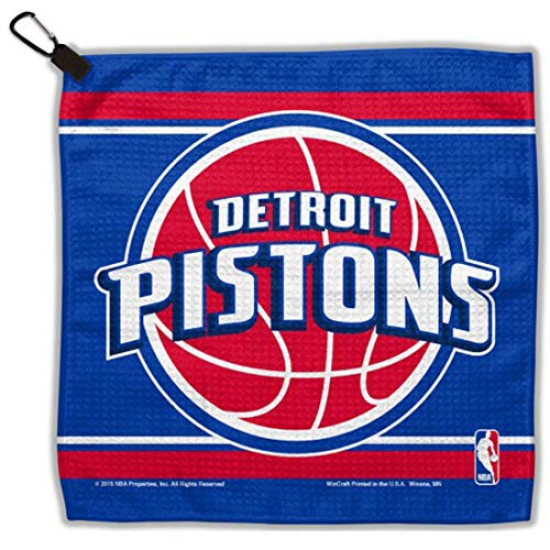 NBA Detroit Pistons Waffle Golf Towel with Small Carabiner Clip, 13 x 13 inches