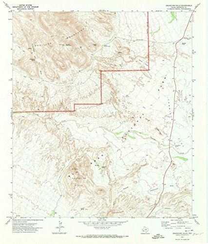 Texas Maps | 1971 Grapevine Hills, TX USGS Historical Topographic Map | Cartography Wall Art | 44in x 53in