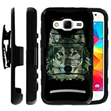 Samsung Galaxy Core Prime Case | Samsung Prevail LTE Holster Case [Heavy Duty Clip] Dual Layer Hard Case with Kickstand and Holster Clip by Untouchble - Green Wolf