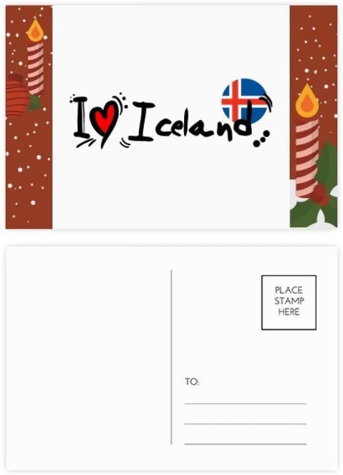 I Love Iceland Word Flag Love Heart Illustration Christmas Candle Greeting Postcard Congrats Mailing Card