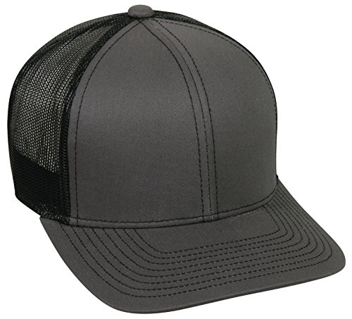 Outdoor Cap Structured Mesh Back Trucker Cap, Charcoal/Black, One Size -
