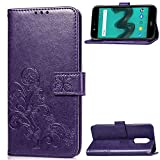 anzeal Wiko Wim Lite Leather Case, Wallet Case for Wiko Wim Lite,PU Wallet Phone Case [Card Holder] Magnetic Closure Protective Cover for Wiko Wim Lite Purple