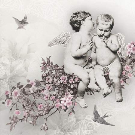 """Little Angels on Roses Paper Luncheon Napkins 40pcs 13""""x13"""" Angelic Chic"""