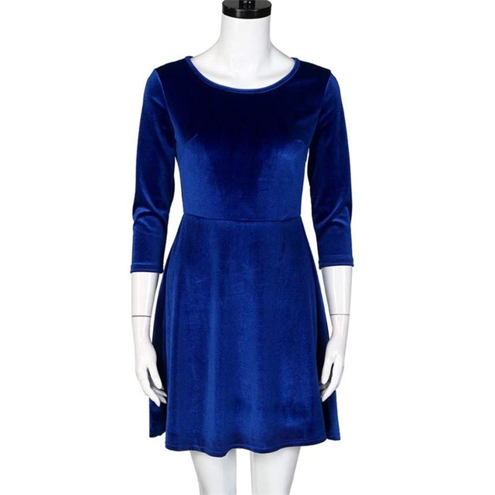 blueee Medium Hey Magento Round Neck Velvet Three Quarter Sleeve Dress