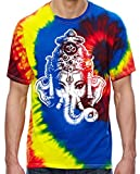 Cheap Mens Big Ganesha Head Tie Dye Tee Shirt, Small Neon Rainbow