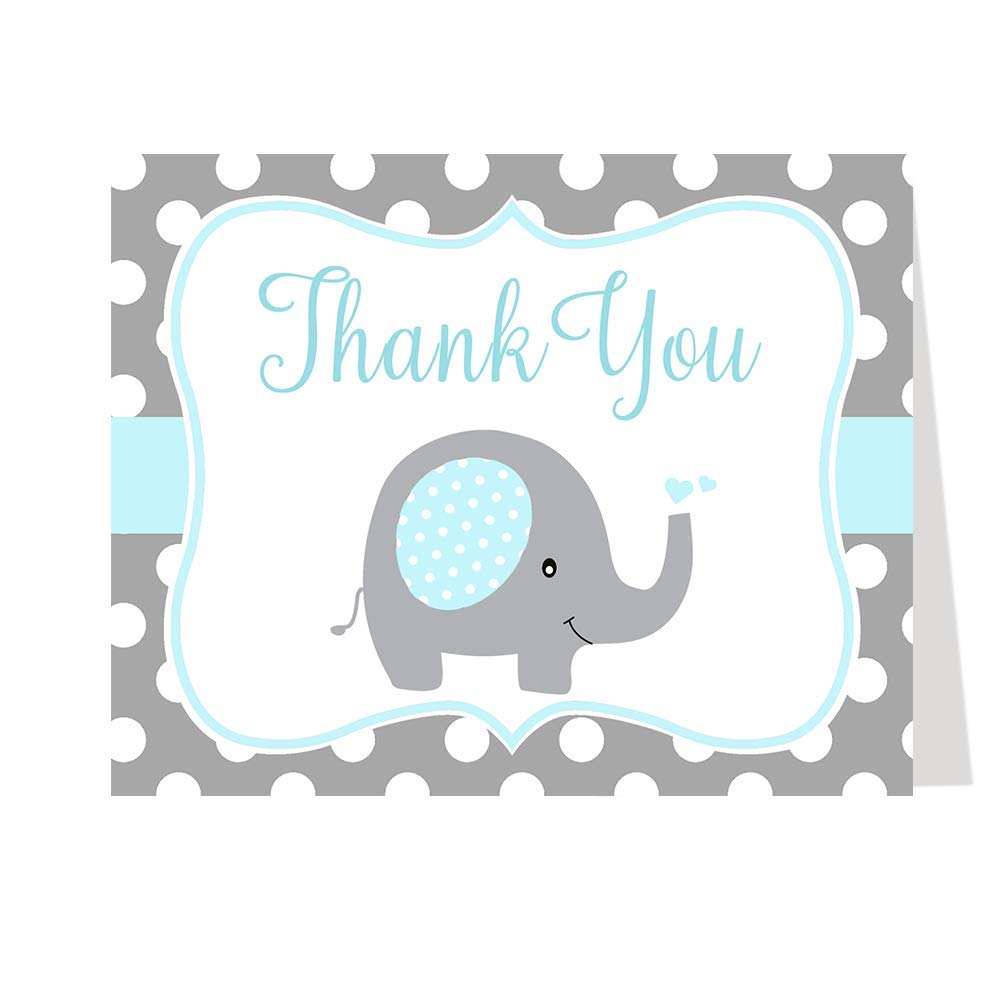 Baby Shower Thank You Cards, Polka dots, Elephant, Blue, Boys,, Set of 50 Thank You Notes with Envelopes,