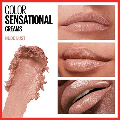 Maybelline Color Sensational Lipstick, Lip Makeup, Cream Finish, Hydrating Lipstick, Nude, Pink, Red, Plum Lip Color, Nude Lust, 0.15 oz. (Packaging May Vary)