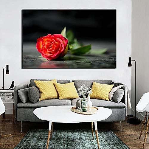 現代の花のポスターと版画壁アートキャンバス絵画赤いバラ写真用リビングルーム壁ホームデコレーションギフト50×70センチなしフレーム