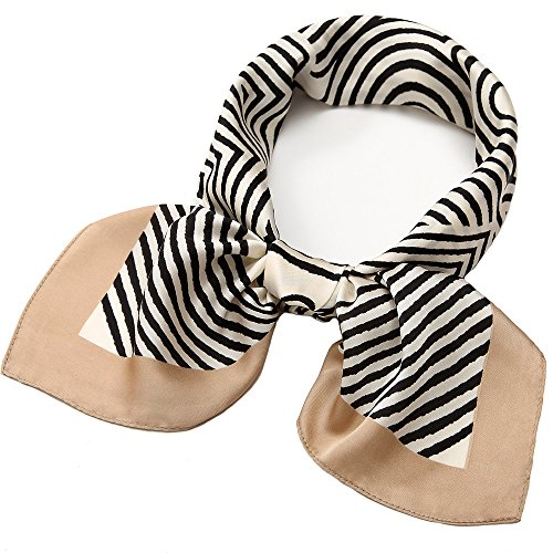 Silk Square Scarf Satin Headscarf Fashion Strip Pattern Scarves for Women Beige