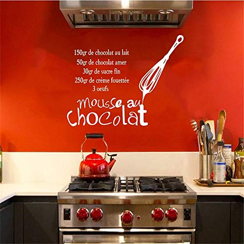 Wall Decal Sticker Mural Vinyl Arts and Sayings Mural Art Stickers French Cuisine Decal Mousse Au Chocolate Tile Kitchen Home Decor -
