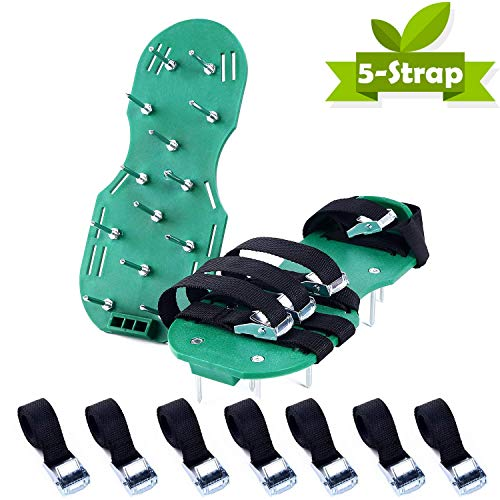 Ohuhu Lawn Aerator Shoes, 4X Adjustable Aluminium Alloy Buckles & 1x Heel Elastic Band Unique Design | Heavy Duty Spiked Sandals for Aerating Your Lawn or Yard by Ohuhu