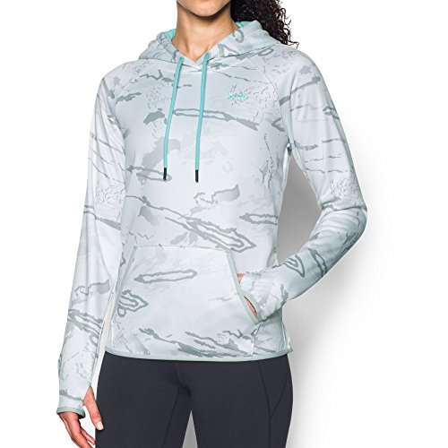 Under Armour Women's Icon Camo Hoodie, Ridge Reaper Camo Sn/Blue Infinity, Large (Blue Camo Under Armour Sweatshirt)