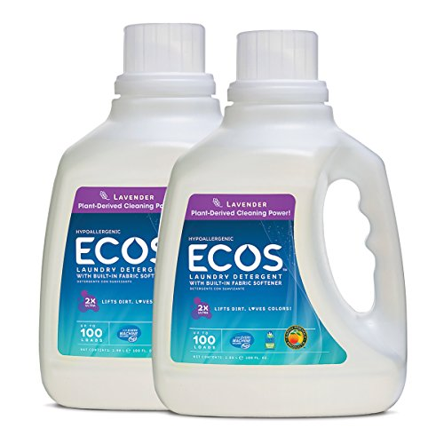 Earth Friendly Products ECOS 2X Hypoallergenic Liquid Laundry Detergent, Lavender, 200 Loads (2 Pack, 100 Ounce ea)