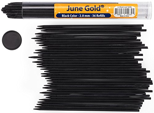 June Gold 36 Black Colored Lead Refills, 2.0 mm, Extra Bold Thickness for Heavy Use, Break Resistant with a Convenient Dispenser