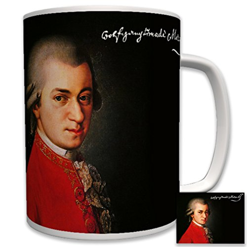Wolfgang Amadeus Mozart Portrait Painting Signature Composer Viennese classical music history - Coffee Cup Mug