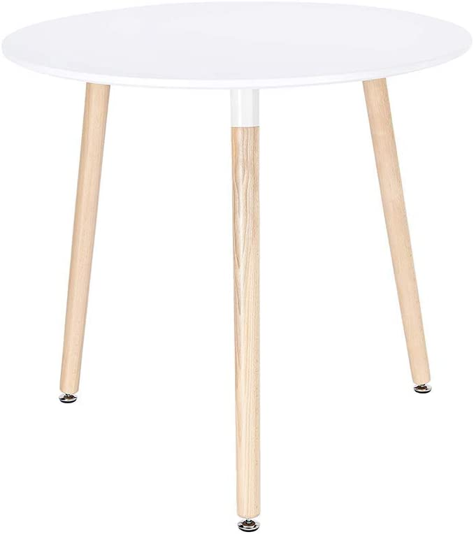 CangLong Modern Round Side Table in White with Beech Wood Legs for Kitchen Living Bedroom