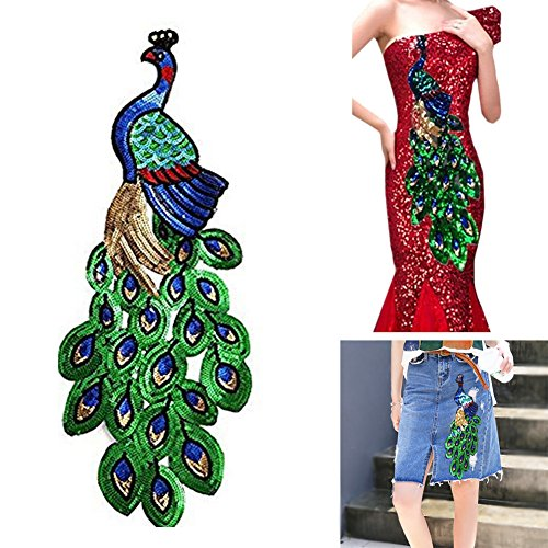 Lesirit Sequins Peacock DIY Applique Embroidered Sew Patch for Clothes Pack of 2 (Embroidered Sequin Applique)