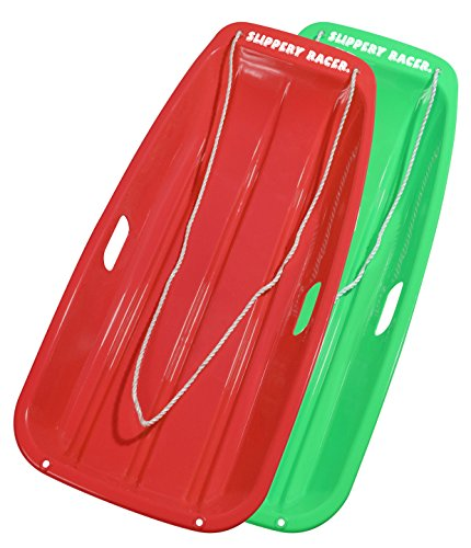 - Slippery Racer Downhill Sprinter Snow Sled (2 Pack), Red/Green