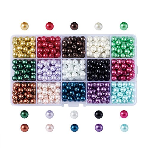 Pandahall 1050pcs 6mm Glass Pearl Beads Tiny Satin Luster Round Loose Beads with Plastic Jewelry Container Box for Jewelry Making (15 Colors)