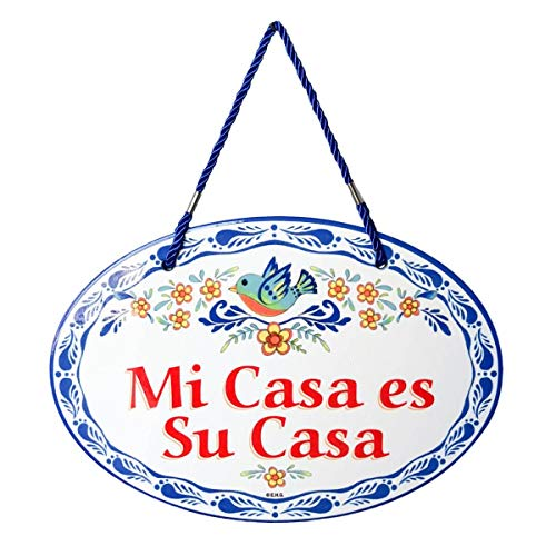 Essence of Europe Gifts E.H.G Mi Casa ES Su Casa Decorative Ceramic Latino Door Sign - Plaque Case Wall