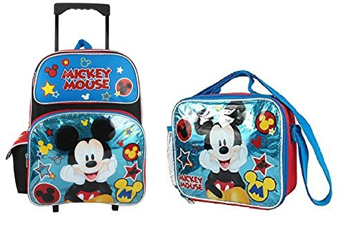 Disney Mickey Mouse Blue 16 Large Rolling Backpack With Lunch Bag Set [並行輸入品]   B078WWKD18