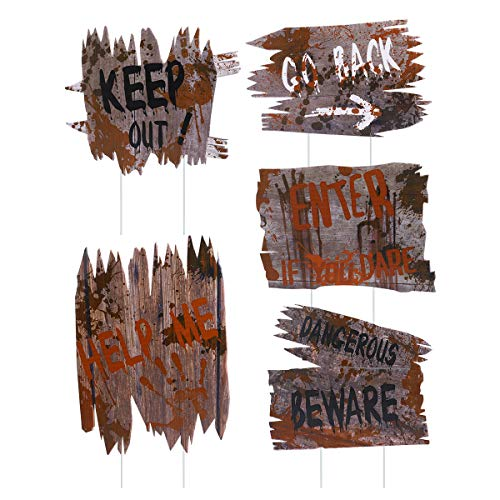Diy Halloween Decorations Scary (Unomor Halloween Outdoor Decorations, 5 PCS Yard Signs Stakes, DIY Halloween Outside Home House Theme Party Decor)