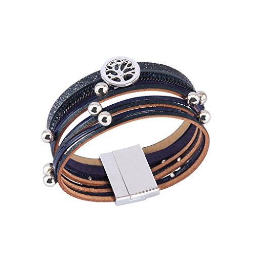 TASBERN Tree of Life Leather Cuff Bracelets Multilayer Rhinestones Stud Beads Rope Wrap Bracelet Wristband for Women Girls Gift(navy) by TASBERN (Image #3)