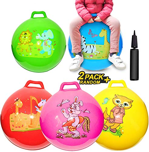 2 Pack Jump Hopper Bouncy Hopping Ball 18 inch with Handle Party Favors for Kids 3-6 Years – School Team Family Ride…