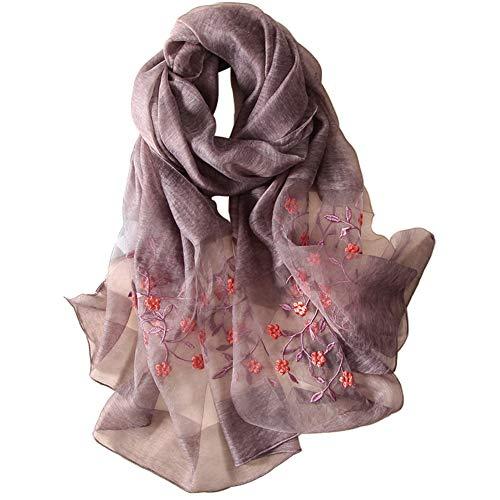 Alysee Women Soft Warm Silk&Wool Mixed Embroidered Scarf Shawl Headwrap Grey Purple