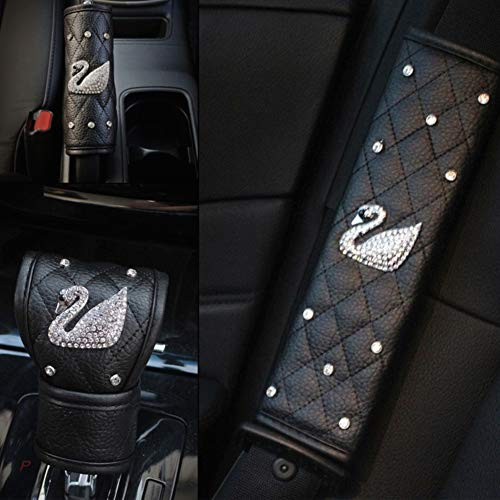 Alvaza Crystal Car Steering Wheel Cover Bling Bling Rhinestones Car Diamond with Swan Not Slip Breathable Steering Covers + Car Gear Shift Knob Cover Handbrake Cover Safety Belt Cover (Black-P4) ...