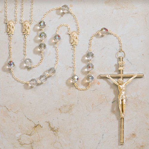 Beautiful Gold Crystal Lasso Rosary 10mm Bead 4 1/4'' Crucifix Gift Boxed