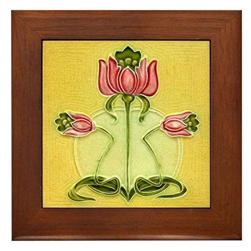CafePress Mission Style Rose Art Tile Framed Tile Plaque Framed Tile, Decorative Tile Wall Hanging