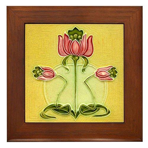 (CafePress Mission Style Rose Art Tile Framed Tile Plaque Framed Tile, Decorative Tile Wall Hanging)