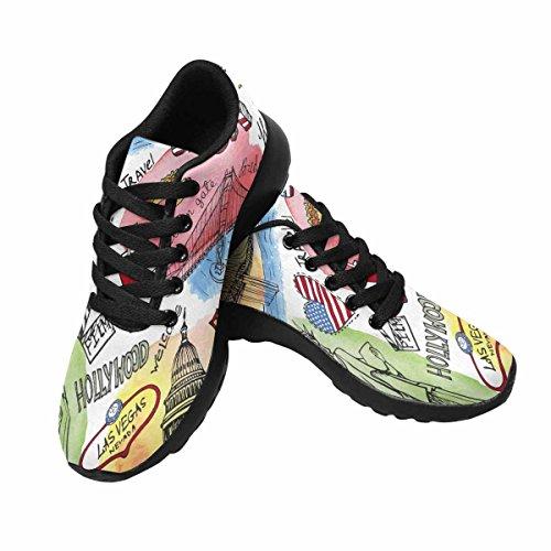 Interestprint Femmes Jogging Running Sneaker Léger Aller Confort De Marche Facile Sport Chaussures De Sport Un Voyage Aux États-unis Multi 1