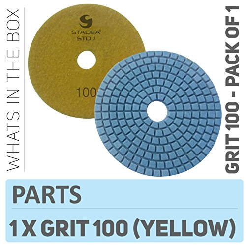 Stadea PPW103D Diamond Sanding Pads 4 Inch - For Concrete Terrazzo Marble Stone Granite Countertop Floor Wet Polishing, Grit 100