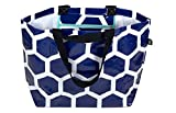 Stylish Beach Swim Bag Lightweight Practical Medium Carry-all Tote Bag Anchor Blue Hexagon