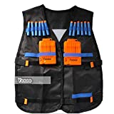 Yosoo Kids Elite Tactical Vest + 10pcs Soft Foam Darts +2 Dart Clips for Nerf Gun N-strike Elite Series (Black)