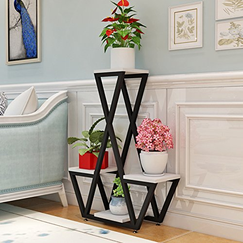 (WANGXIAOLIN Simple Modern Multi-Layer Wrought Iron Flower Stand Floor-Standing Living Room Upscale European Creative Indoor Plant Green Radish Rack (Color : White Oak))