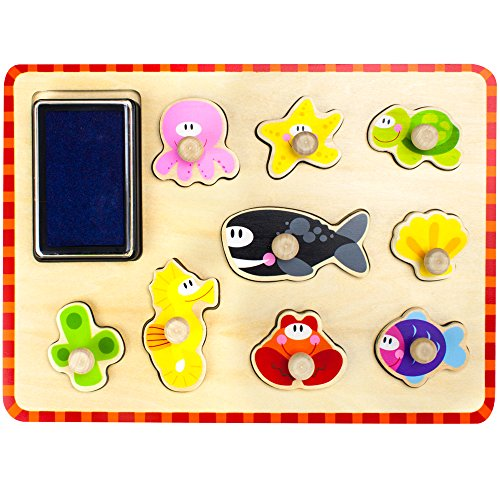 (Professor Poplar's Puzzle Stampers Puzzle Boards with Inkpad by Imagination Generation (Marine Life))