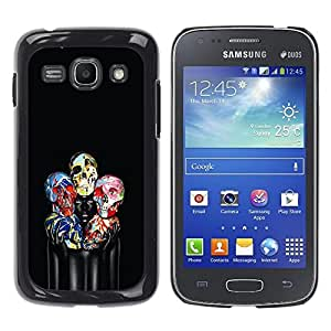 Paccase / SLIM PC / Aliminium Casa Carcasa Funda Case Cover - Skull Floral Black Paint Woman Deep - Samsung Galaxy Ace 3 GT-S7270 GT-S7275 GT-S7272